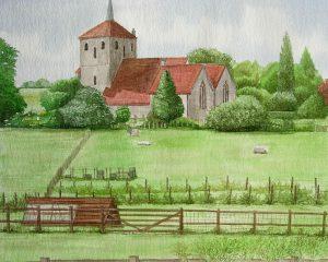 Runkinge church in watercolour web